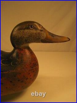 Vintage Mason Premier Hollow Hen Duck Decoy 1910 Original Paint Detroit Michigan