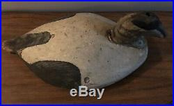 Vintage Nova Scotia Common Eider Duck Decoy Working Weathered Paint Wide Body