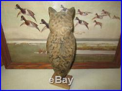 Vintage Old PS. Olt Pekin Ill. Great Orig Paint John Hyatt Great Horned Owl Decoy