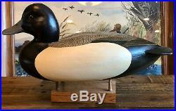 Vintage Oversized Ken Ingram Blue Bill Wooden Duck Decoy Peoria IL