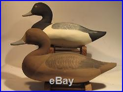 Vintage PAIR of Blue Bill Duck Decoys by Paul Gibson S&D 1982/83