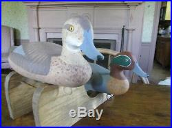Vintage R. Madison Mitchell Pair S/d Green Wing Teal Duck Decoys