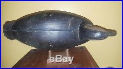 Vintage Rare 1920s Ira Hudson Football Black Duck Decoy Chincoteague Island VA