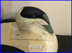 Vintage Solid Wood Carved Gus Wilson Breast Preening Eider Drake Duck Decoy Rare