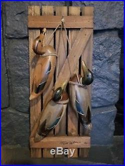 Vintage Tom Taber 3 Hanging Mallard Duck Decoys Wall Art Rare Piece