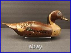 Vintage Tom Taber Pintail Wood Wooden Duck Decoy Man Cave Decor Wormwood