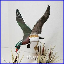 Vintage Wood Duck Drake On Driftwood Hand Carved Painted Sculpture Signed