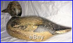 Vintage Wooden Duck Decoy Black and Tan Wooden Head with Glass Eyes