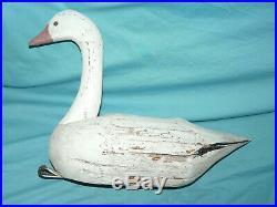 Vintage Wooden Snow Goose DECOY F&S Large 24 Wood Antique Folk Art Hunting