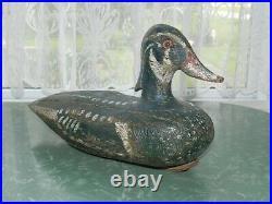 Vtg Antique Signed Carved Wood Painted Duck Decoy Primitive Folk Art