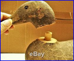 Weighted Hand Carved Hand Painted Wooden Duck Decoy 2 Part w Glass Eyes Benz