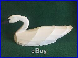 White Canvas Covered Swan Decoy Wood Head Signed by A. A. Waterfield N. C