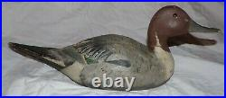 Wooden Pintail Duck Decoy Antique Vintage Hand Painted 1940s